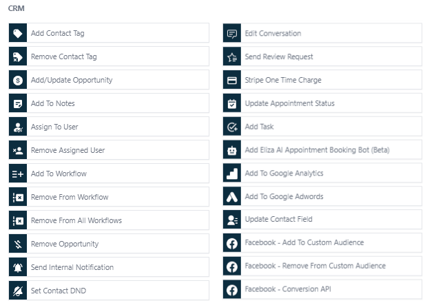 Actions available within HighLevel workflows